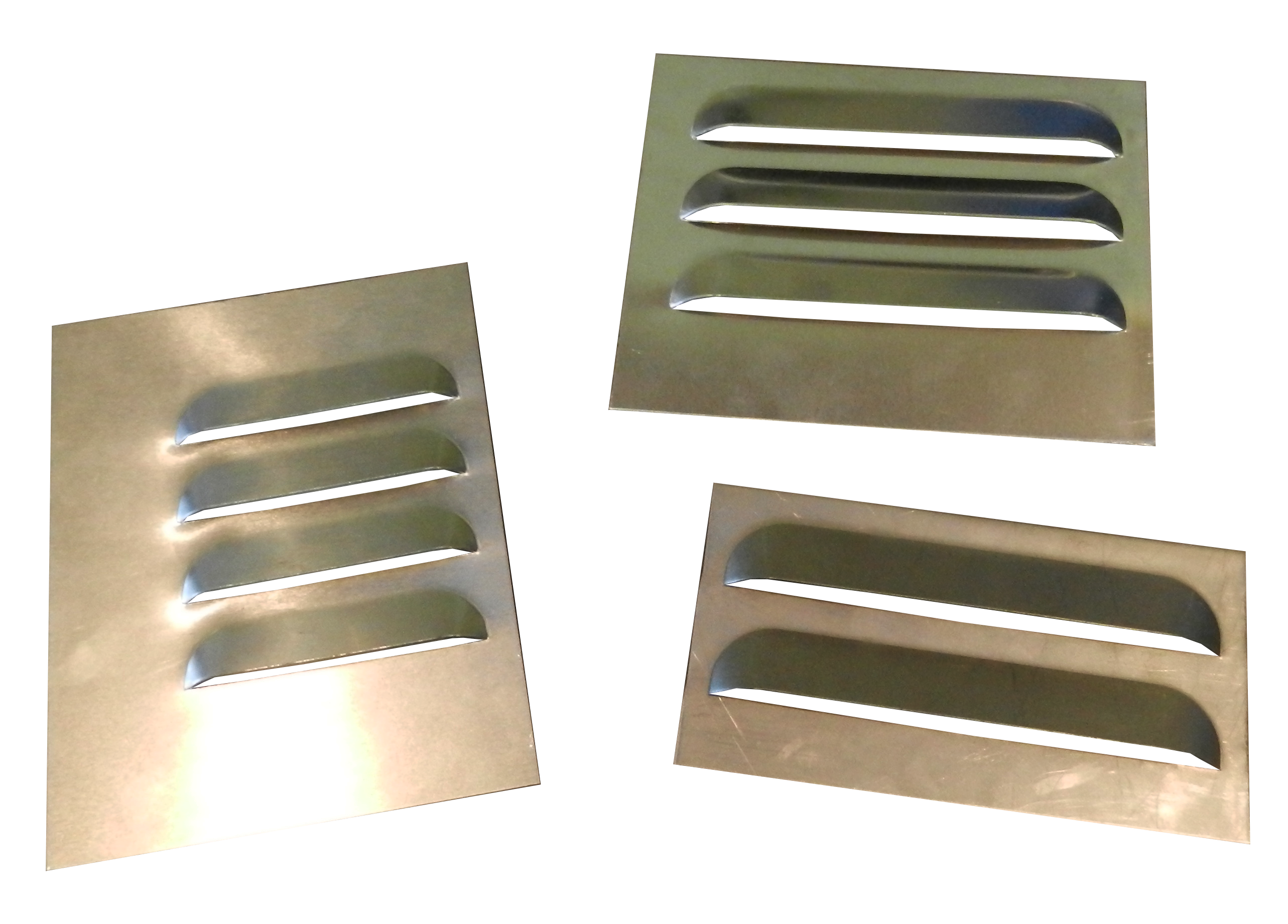 Punch Tools single station 3 inch  and 4 inch example louver (louvre) panels.